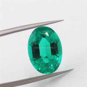 Handmade Natural Oval Cut 7*9mm Hydrothermal synthetic Emerald For Jewelry