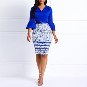Clocolor Frauen Midi-Kleid-elegante Büro-Damen Rosa Bodycon Druck Aufflackern-Hülsen-Gürtel Weibliche Blue Fashion Sexy Plus Size Kleid T5190617