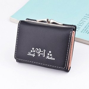 Wallet Female Short Section Korean Version Of The Cat Small Fresh Student Mini Coin Purse 2019 New Folding Wallet Branded Wallets Purs iaE9#