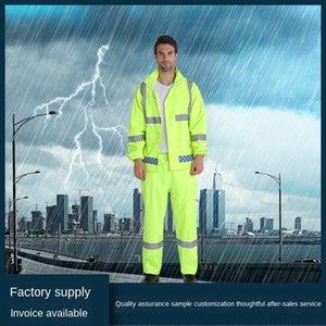 8kZbh fluorescent divisé jeu de réflexion vert droit de travail vert fluorescent extérieur imperméable conduite d'assainissement de protection Raincoat