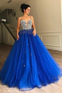 Luxury Spaghetti Straps Evening Dress Royal Blue Tulle A-line Long Prom Gown with Beads Vestidos De Festa Custom Made