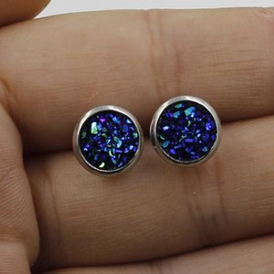 New Handmade Resin Round Drusy Druzy Stud Earrings Trendy Simple Stainless Steel Resin Stone Earring For Kids Gift Cheap 8mm