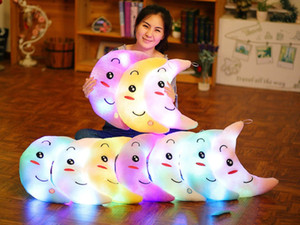 Creativo Luna LED doni colorati luminoso bambola luminoso cuscino peluche dei giocattoli dei bambini di compleanno dei bambini Regali di Natale Regali