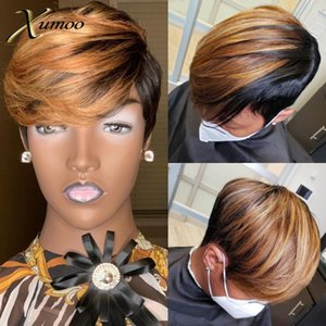XUMOO Bob Wig Human Brazilian Hair Wigs Highlight Brown Pixie Cut Wig None Lace Wigs With Bangs Short Human Hair For Women