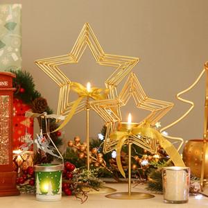 Simple style d'or Bougeoir en fer forgé étoile à cinq branches Bougeoir Décoration de Noël Cadeau créatif Table Decorati