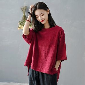 Johnature Women Vintage Cotton Linen T-Shirts Solid Color Irregular 2020 New Summer O-Neck Short Sleeve Irregular Women T-Shirts 0924