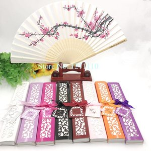 96PCS Cherry Blossom Wedding Fan in Elegant Lase-Cutter Gift Box Personalized Printing Wedding Name&Date Hand Folding Fans