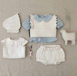 New Knit Kids Clothes Set Ruffles Sweater Shorts Blouse Infant Clothing Baby Girls Clothes Autumn Winter Suit Baby Boys Outfit