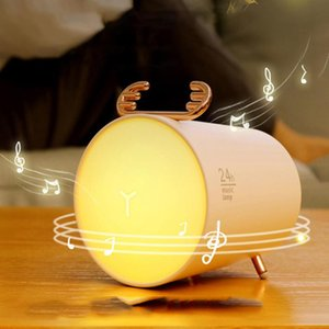 LED Night LightWireless Bluetooth Speaker 3D Stereo Surround USB Chargerable Deer Table Lamp Bedroom Dimmable Reading Light