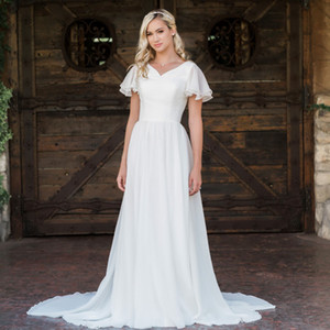 2020 New A-line Chiffon Boho Modest Wedding Dresses With Flutter Sleeves V neck Buttons Back Informal Beach Bridal Gowns Bohemian Robes