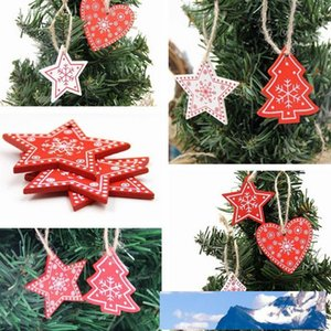 New Year 2020 Natural Snowflake Wood Pendant & Drop Ornaments Christmas Tree Wood Craft Xmas Tree Decorations for Home 2019