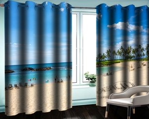 3d moderna cortina Living room 3D Curtain Romantico Tourist Beach Seascape romantico paesaggio Blackout Curtain 3d