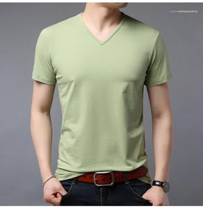 Casual Fashionable Tshirt V Neck Short Sleeve Tees Slim Modern Pullover Mens Summer Tshirt Solid Color Mens