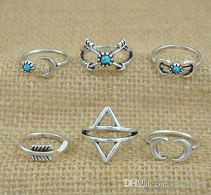 Rings Sets Bohemian Style 6pcs Pck Rings Arrows Moon Lucky Rings Set for Women Party Silver RING
