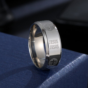 316 Titanium Steel silver color plated christian ring jesus cross Letter bible wedding band ring men women
