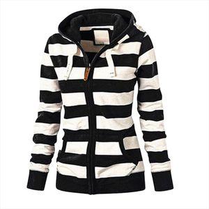 hoodies Women Striped sweatshirt Zipper coat Thicker Tops autumn Hooded Tracksuit Coat Jacket Casual Ladies Slim Jumper moletom