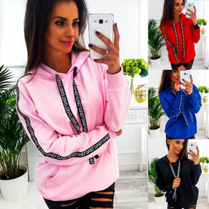 Letter Strap Hoodie Women Sweatshirt Long Sleeve Hooded Pullover Tops Loose Casual Pocket Hoodies Lady Plus Size 5XL Bts