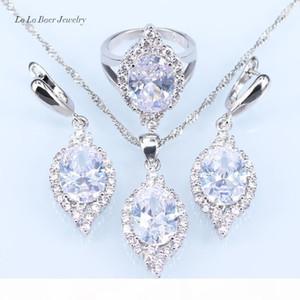 L&B Australia White Opal Rhinestone Silver color 925 Logo Jewelry Sets For Women Zircon Pendant Necklace Stud Earrings Rings