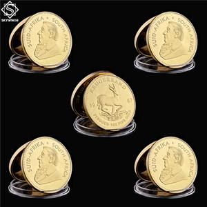 5PCS 1967 Krugerrand Fyngoud 1OZ or fin Replica Afrique du Sud Replica Coin Paul Kruger Pièce commémorative Métal