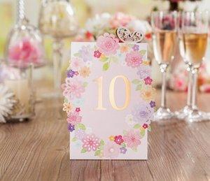 Tabla casan tarjetas del lugar del corte del laser de las flores de la boda Número Nombre Lugar tarjetas románticas fuentes de la boda del lugar de la
