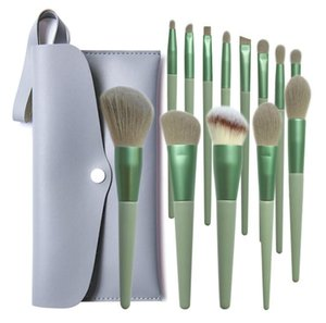 PU Çanta ile Vakıf Pudra Göz farı Fırça Setleri Ahşap Kol Alüminyum Tüp Makyaj fırça ile 13pcs Makyaj Fırçalar Setleri