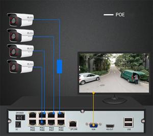 Câmera de segurança Kit de sistema impermeável Visão noturna DVR / AHD NVR / POE HD 1080P Câmera digital de quatro canais de quatro canais com harddrive de 1 TB