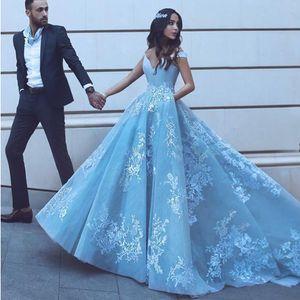 Gracioso Árabe Luz Cielo Azul Jardín Vestido de novia Desactivado Hombro Inoportable Cordón Campo Vestido nupcial Vestido de compromiso formal