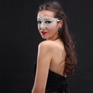 Venetian Adjustable White Women Sexy Lace Eye Mask Half face Mask Masquerade Halloween Party Mask for Christmas Cosplay Club Ball