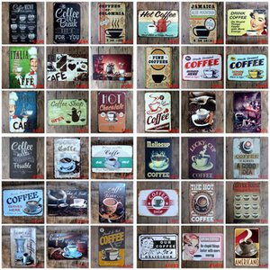Coffee Metal Sign Vintage Tin Sign Plaque Metal Vintage Wall Decor for Kitchen Coffee Bar Cafe Retro Metal Posters Iron Painting DHF1253