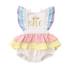 0-18M Baby Girl Birthday Cotton Romper Ruffled Lace Sleeveless Golden Letter Crown Print Jumpsuit