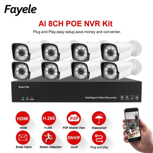 3MP 1080P 8CH POE Security IP Camera System AI Humanoid Tracking Motion Detection CCTV Home Day&Night Surveillance Video Kit P2P