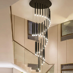 Modern black iron long tube LED Chandelier Lighting Nordic stairs Lights Fixture Living room Dining room Hotel deco Hanging lamp