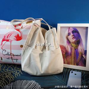 Women Cotton Fabric Shoulder Bag Simple Eco Canvas Bag Soft Handbag Solid Casual Tote Female Environmental Reusable Shopping Bag 200919