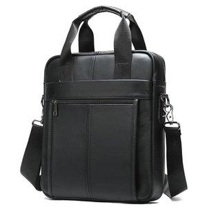 MVA Nuova impresa di cuoio genuina nel documento-13' Laptop semplice Cartelle borsa degli uomini verticale Un-spalla Messenger Borse