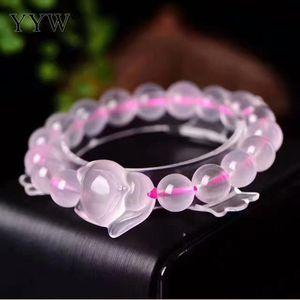 Rose Bracelet Quartz Transparent Polished Smooth Pink Beads Pendant Woman Luxury Elegant Bangle Grace Romantic Girls Gifts