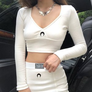 2 Piece Sets Womens Outfits Sexy Long Sleeves Crop Top Tshirt + Skirt Fashion Female Steerwear White Women Sets 2020 Winter New X0923