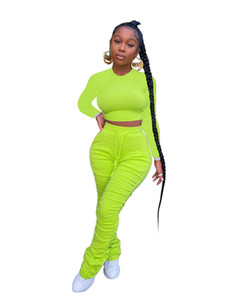 Frauen sweatsuits Fashion Natural Color Tracksuits beiläufigen langen Hülsen Crop Top Stacked Pants Women Designer-Kleidung