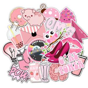 50Pcs Fresh Pink VSCO Mädchen-Kind-Aufkleber-Pack Non-Random Graffiti Auto-Fahrrad-Gepäckaufkleber Laptop Skateboard Motor-Wasserflasche Aufkleber