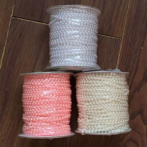50 Mètres / Rouleau Demi ronde dos plat en plastique Perle 4 mm Garniture Flatback Perle Perle cordes Garniture chaîne Sew VX12 Y200918