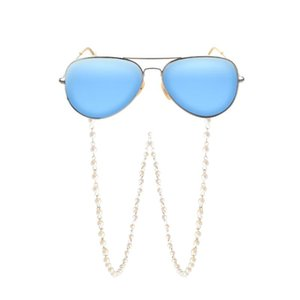 Fashion White Imitation Pearl Glasses Chains Beaded Sunglass Reading Eyeglasses Chain Cord Holder Rope For Men Women Couples