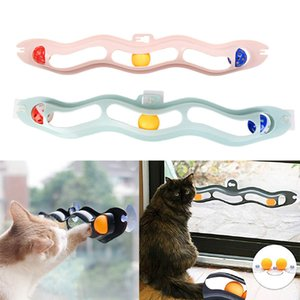 Pets Cat Toys Interactive Track Ball Toy Cat Practical Window Suction Cup Glass Plastic Sucker Funny Educational Toy