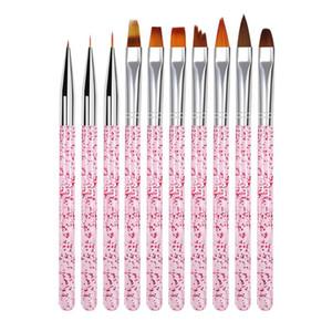 10pcs / set Salon Gradiente linha de pintura Pen DIY Dicas Builder Macinure Ferramenta UV Gel Profissional Dotting Nail Art Desenho de escova