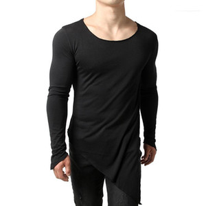 Long Sleeved Breathable Teenagers Tops New Arrival New Mens Irregular Designer Tshirts Solid Color Mens Autumn Tops