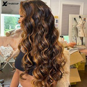 Кружевные парики 6 '' Deep Part Wave Brown Highlight Front Человеческие Волосы Предварительно Сокрученный Палина Бразильский РЕММ Шелковая База Ребенок