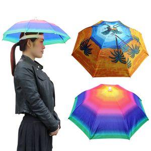 Foldable Outdoor Umbrella Hat 55cm Fishing Hiking Golf Headwear Sun Umbrella Cap Hands Free Protable Fishing Cap For Women Men