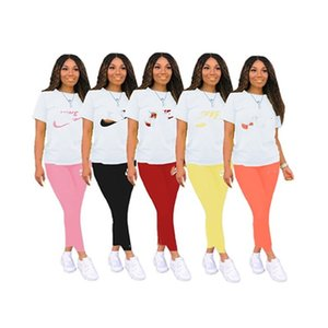 Women desinger 2 piece set summer clothes fitness jogger t-shirt pants sweatsuit crew neck leggings outfit fashion hotselling hot sell 0478
