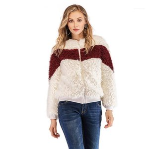 Warm Style Female Clothing Solid Color Zipper Casual Apparel Womens Winter Designer Faux Fur Crew Neck Long Sleeve