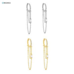 Kikichicc 925 Sterling Silver 8.5mm Long Chain Hoops Circle Huggies Women Zircon CZ Crystal Women Piercing Pendiente Jewelry 200924