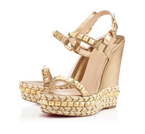 Famous Ladies Red Bottom Wedge Cataclou Sandals Gold Patent Leather Studded Ladies Ankle Strap Women's Pumps Party Dress EU35-42,With Box