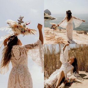 Chic Asymmetrical Boho Beach Pattern Lace Wedding Dresses With Long Flare Sleeves Appliques Tassel Country Bridal Gowns Vestidos de novia